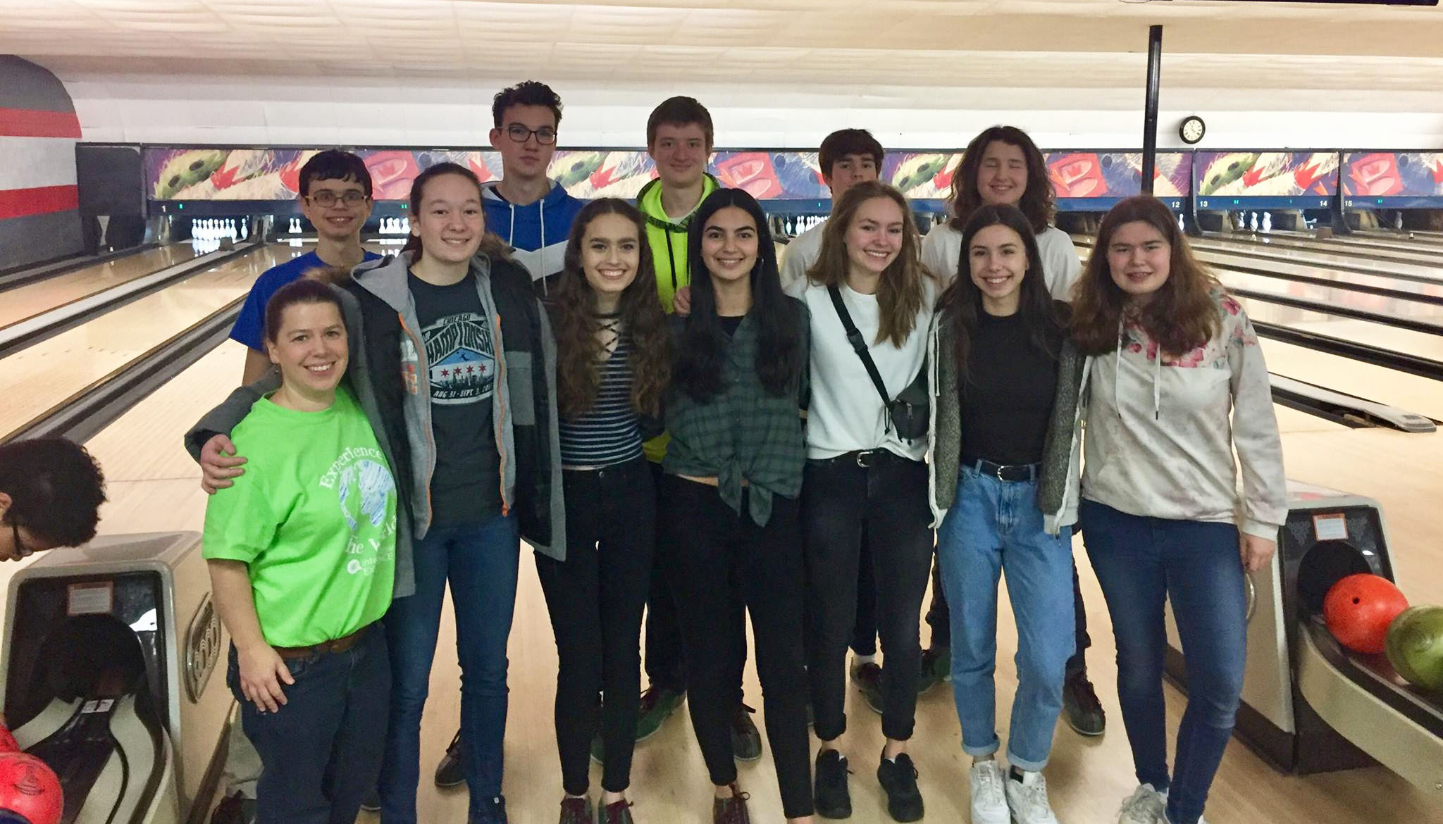 Exchange students and coordinator bowling